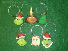 Set of Dr Seuss The Grinch polymer clay wine glass charms.  For more information please visit www.CharmingSculptHers.com