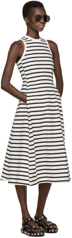 T by Alexander Wang - Ivory & Navy Striped Jersey Dress