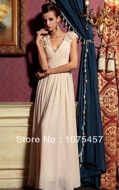 8f30d15ea Custom Ivory Evening Dresses Chiffon 2014 New Fashion Cap Sleeve Pleat  Beading Floor Length Free Shipping PJ356