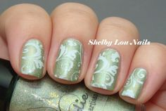 Jindie Nails Olive You with Vivid Lacquer Stamping