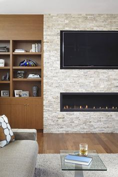 Image result for linear ethanol fireplace with tv | Fireplace ...