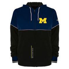Men's Franchise Club Michigan Wolverines Shield Reversible Hooded Jacket, Size: Medium, Blue (Navy)
