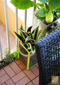 When you've got a tiny urban patio, garden up! Blogger Gloribell Lebron shares tips for spray painting tall lanterns to make plant colors stand out. And check out her great idea for using composite deck tiles to hide the apartment balcony floor.