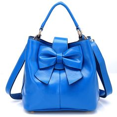 Sweet Bowknot Pure Cowhide Leather Handbag