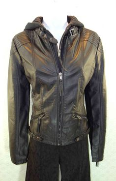 """""""Baccini"""" Faux Leather Black Jacket – Mustang Sally's"""