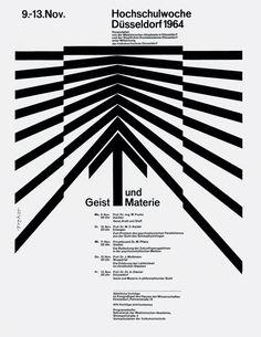 """thedesignerandthegrid: """"Hochschulwoche Düsseldorf 1964, poster design by Walter Breker """""""