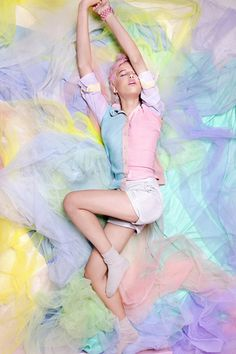 Concept: Candy Colours. Lots of tulle and pretty fabric, spring clothing in pastel tones.