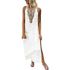 3c0052de60f69a Vestito Estivo da Donna Abito Sciolto Senza Maniche Retro Lino Cotone Abiti  Lunghi Donna Eleganti Camicetta