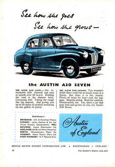1953 Austin Seven Aussie Original Magazine Advertisement Australian Vintage, Australian Cars, Car Posters, Poster Ads, Vintage Ads, Vintage Posters, Vintage Signs, Classic Cars British, British Car