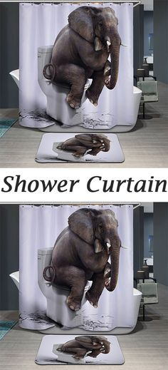 Novelty Waterproof 3D Elephant Toilet Pattern Shower Curtain