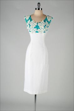 vintage 1950s dress . turquoise white linen . by millstreetvintage