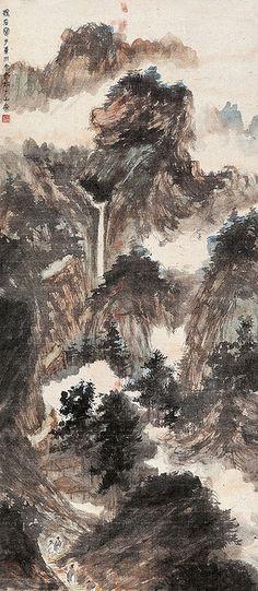 傅抱石-松山寻瀑  Painted by the contemporary artist Fu Baoshi 傅抱石.