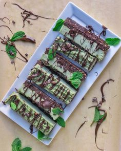 Raw Vegan Mint Chocolate Chip Cheesecake Bars - Laws of Bliss