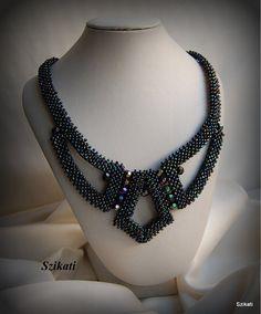 Dark Blue Iris Seed Bead Bib Necklace Statement by Szikati on Etsy