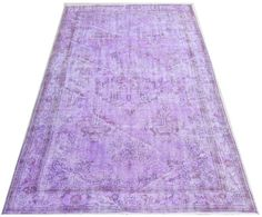 6x9.6 FT (183x290 cm) Light Lavender, Orchid, Lilac Color OVERDYED Vintage Turkish Rug, Distressed look Handmade Carpet, wool&cotton , NO7