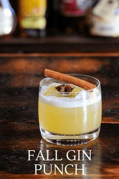 This Spiced Gin Punch is full of fall flavor with cinnamon and star  anise in the simple syrup. Gin and pineapple juice are great with the  spiced syrup for an autumn sipper. #cocktails #recipe #pineapple