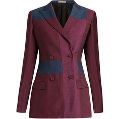 Bottega Veneta Peak-lapel patchwork wool-blend blazer (24 770 UAH) ❤ liked on Polyvore featuring outerwear, jackets, blazers, 2016 pants, bottega veneta jacket, shiny jacket, purple blazer, peaked lapel blazer and bottega veneta