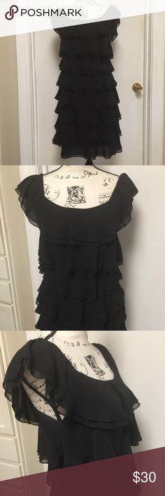 "White House Black Market Tiered Black Dress Tiered Lined Dress Sleeveless 🔹 Pit to pit 17""  🔹Length 35"" 🔹Polyester, above the knee🔹 White House Black Market Dresses"