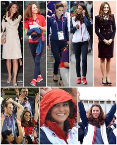 Since the Paralympics are currently being held, I thought I'd share what Kate wore to the 2012 Paralympic events. 1: To the opening ceremony Kate wore her Day Birger et Mikkelsen coat for the fourth time. 2: Wearing a Team GB fleece and top, Adidas Supernova trainers and jeans, Kate watched the cycling and goalball with William. 3: She then returned later that day to watch the swimming, having put on her fleece and swapping her trainers for her Corkswoon wedges. 4: With the same jeans…