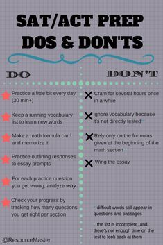 Great tips that work for the TEAS, too. (No essay on the TEAS, though!) A few general tips for students preparing for the SAT and ACT. testprep SAT ACT SATprep ACTprep SATstudytips ACTstudytips testprepresources 800444533750241936 High School Hacks, Senior Year Of High School, High School Life, Life Hacks For School, School Study Tips, School Tips, High School Junior, Junior Year, Study Tips For Exams