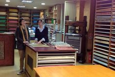 Relma, a family-owned bookbinding supply company in Paris - Love that table with space to hold large sheets of paper!