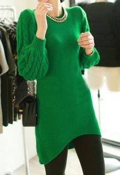Green Cable Knit Sweater Dress