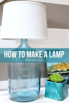 How to make a lamp! An easy DIY tutorial for this lamp made from an old glass water jug found at a thrift store!