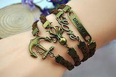 brown charm braceletvintage anchorloveoctopus by HandmadeTribe, $5.99