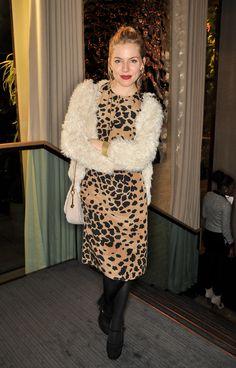 Sienna Miller does Burberry animal print