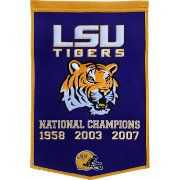 Louisiana State Tigers Winning Streak Dynasty Banner- Large banner that lists LSU football National Championship years- Embroidery and applique detail on wool blend felt Lsu Tigers Football, Sec Football, College Football, Football Fans, Nfl Team Colors, Felt Banner, Louisiana State University, National Championship, Flag