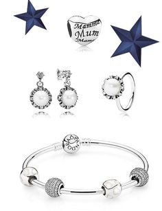 A perfect gift for mom #PANDORA jewelry with classic pearls and mother of pearl #PANDORAcharm