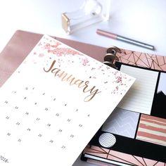 Free Printable 2018 Rose Gold Splatter Calendar - Fluorescent Beige