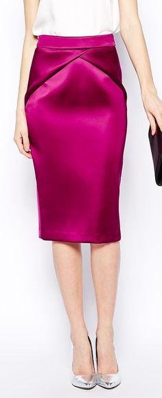 bonded satin skirt