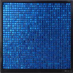 GM13-10 Waterproof Square Sapphire Blue Glass Mosaic Bathroom Tile Wall Decor Ideas