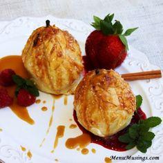 Menu Musings of a Modern American Mom: Cream Cheese Stuffed Pear Dumplings with Praline Sauce