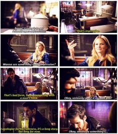 Loved the Hook and Emma scene in the diner! Her trying to make Hook smile by using her magic and flirting it up lol! <3