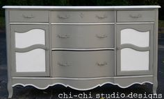 a redone dresser- I love the gray and white