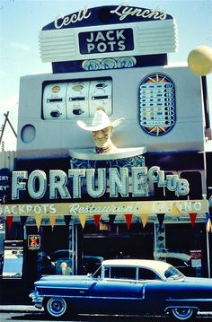 """The Fortune Club in downtown Las Vegas (ca. This was the second """"Fortune Club"""" on Fremont Street, taking the place of the Golden Slot Club Vegas Casino, Las Vegas Nevada, Cities, Vintage Neon Signs, Fremont Street, Roadside Attractions, Sin City, Architecture, Slot Machine"""