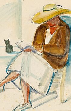 Reading with cat       Anita Ree   born February 9, 1885 in Hamburg, Germany   died December 12, 1933 (48) in Kampen, Germany   more:  Wik...