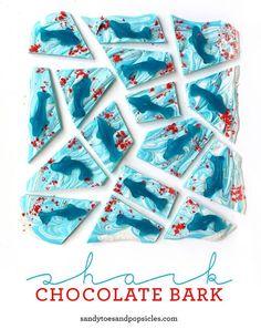 Chocolate And Gummy Shark Bark Party Favor