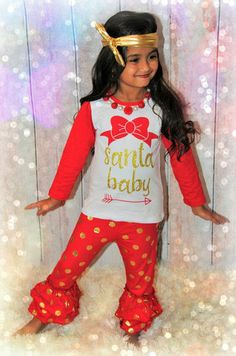 SALE Girls Christmas Outfit Santa Baby Red by AdrianasClosetLGB