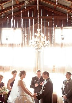 Chandeliers in a barn make for a fantastic venue!