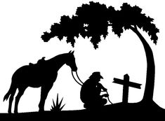 kneeling cowboy with horse | praying cowboy silhouette - Google Search Tattoo Ideas Pinterest
