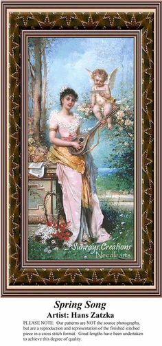 Fine Art Counted Cross Stitch Pattern, entitled, Spring Song by renowned artist…