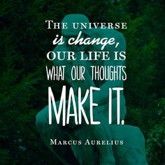 The Universe is change, our life is what our thoughts make it! Marcus Aurelius