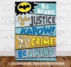 PRINTS Any Size Superhero Word Art Typography Boy Superhero Nursery Children's Wall Art Decor Printable Superhero Sign Superhero Poster
