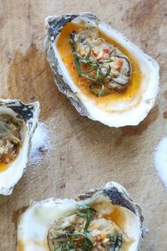 Grilled Oysters With Chipotle Bourbon Butter. These grilled oysters are topped with an addictive chipotle bourbon butter, inspired by the BBQ oysters at Hog Island Oyster. Grilling Recipes, Fish Recipes, Seafood Recipes, Dinner Recipes, Cooking Recipes, Easy Cooking, Bbq Oysters, Grilled Oysters, Smoked Oysters