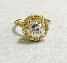 18K Yellow Gold Halo with 9.5 mm OEC Moissanite : Moissanite Center Stone