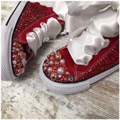 2e03a3b21b88 Christmas Converse Sparkles   Red kids pearl converse   kids bling converse    kids ruby converse