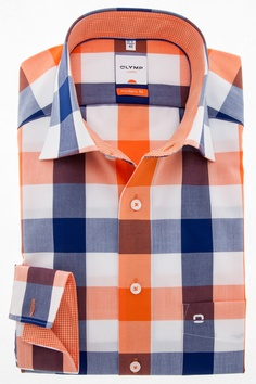 A cheerful checkered shirt of Olymp in the collar blue with orange. Buy this shirt now for € 64.95 on http://hemdenonline.nl/shirts/shirt-olymp-luxor-modern-fit-beige-0300-64-88.html#